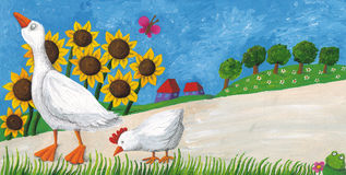 Oie avec la poule sur le chemin de village Images stock