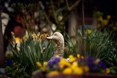 Oie en céramique dans le jardin d'agrément Image libre de droits