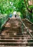 Oigenkännlig brant gammal McElhone för folk gå upp trappa i Woolloomooloo Sydney NSW Australien fotografering för bildbyråer