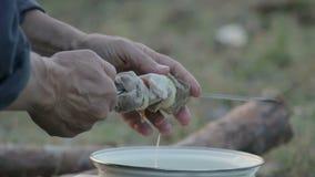 Oigenkännlig man som stränger grillfestkött på en steknål på naturen arkivfilmer