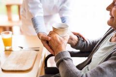 Oigenkännlig vård- besökare och en hög kvinna under hem- kraft royaltyfri foto