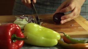 Oignon de coupe de femme et poivron rouge et cuisson du quesadilla de patate douce banque de vidéos