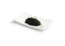 Oignon noir de caviar et de source Images stock