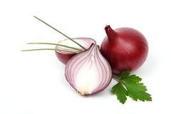 Oignon rouge et persil frais Photo stock