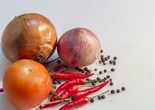 Oignon, tomate, piments et poivre Images stock