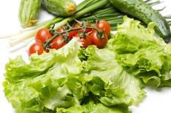 Oignon vert, feuilles de laitue, concombre, cerise de tomates pour faire cuire sur la table de cuisine, plan rapproché images stock