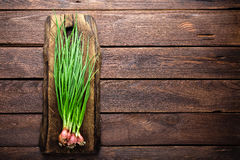 Oignon vert ou oignon blanc sur le panneau en bois, ciboulette fraîche de ressort Photo libre de droits