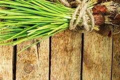 Oignon vert sur le fond en bois Image stock