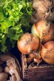 Oignons dans la vieille boîte en bois au-dessus des légumes Photographie stock