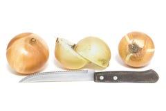 Oignons de Brown et couteau en bois d'isolement sur le fond blanc images libres de droits