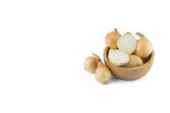 Oignons et oignons coupés en tranches Images stock