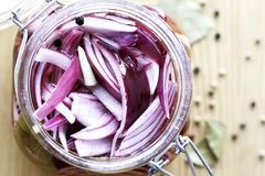 Oignons rouges marinés Photos stock
