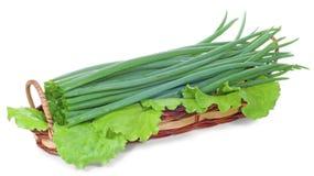 Oignons verts dans le panier Image stock