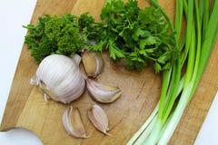 Oignons verts, persil, ail et épices image stock