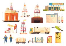 OiI Production Industry Icons Set stock illustration