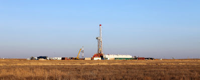 Oil rig. Panoramic view at onshore oil well Royalty Free Stock Image