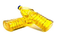Oil. Two oil bottles isolated on a white Stock Images