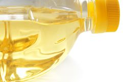 Oil. Plastic bottle with olive oil royalty free stock images