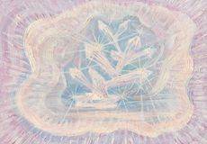 Oil Abstract Illustration of crystals. Original Oil Abstract Colour illustration with pink background and glowing crystals in beaming light Royalty Free Stock Photography