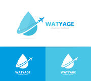 Oil and airplane logo combination. Drop and travel symbol or icon. Unique flight water and aqua logotype design template stock photo
