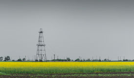 Oil And Gas Well Rig, Outlined Rural Canola Field Stock Images