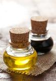 Oil and balsamic vinegar. In bottle stock photos