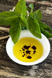 Oil And Balsamic Vinegar. Dipping condiment of olive oil and balsamic vinegar with sage stock photography