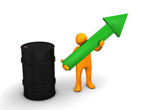 Oil Barrel. Orange cartoon with a green arrow and barrel of oil on the white stock illustration