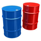 Oil Barrel. Blue and Red Oil Barrel - isolated on white background vector illustration