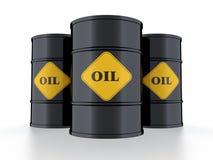 Oil barrel. 3D illustration of black oil barrel on black background stock illustration