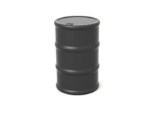 Oil Barrel. Single black 3d rendered oil barrel royalty free illustration