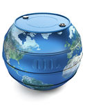 Oil barrel. Illustration of a oil barrel with a earth globe shape royalty free illustration