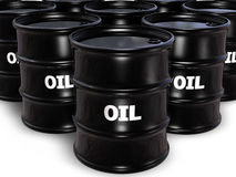Oil Barrel. Closeup of 3d black oil barrels vector illustration
