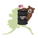 Oil Barrel Alaska map background. Flag of United States. Bear k. Eeps paws a barrel. Vector illustration royalty free illustration