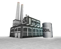 Oil barrel as industrial factory production concept Stock Photo