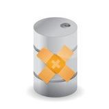 Oil barrel band aid fix solution concept Stock Photo