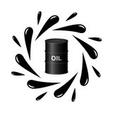 Oil barrel and black drops Stock Photos