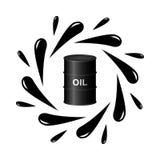 Oil barrel and black drops Stock Photos