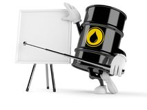Oil barrel character with blank whiteboard stock illustration