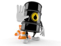 Oil barrel character making stop gesture royalty free illustration