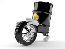 Oil barrel character rolling spare wheel. On white background stock illustration