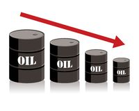 Oil barrel chart graph with red arrow pointing down Royalty Free Stock Images