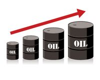 Oil barrel chart graph with red arrow pointing up Stock Photos