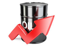Oil barrel chart graph with red arrow up Stock Photography