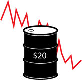 Oil Barrel Crash Illustration. With $20 a barrel symbol vector illustration