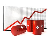 Oil barrel and curve. Oil barrel and red curves royalty free illustration