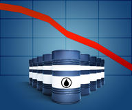 Oil barrel with decreasing price graphic. 3d illustration of oil barrel with decreasing price graphic stock illustration