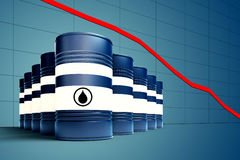 Oil barrel with decreasing price graphic. 3d illustration of oil barrel with decreasing price graphic royalty free illustration