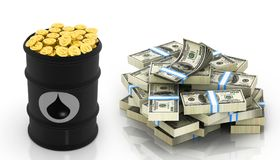 Oil barrel with Dollar notes and gold coins. 3d illustration stock illustration