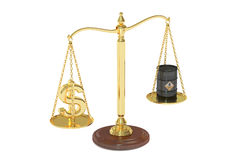 Oil barrel and dollar on scales Stock Photos
